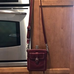 Maroon leather Coach crossbody handbag